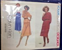 Vintage 80s Uncut Sewing Pattern Calvin Klein 1784 Vogue American Designer Dress
