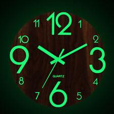 Glow In Dark Wall Clock Luminous Quartz Non Ticking Wooden Home Decor 12''/30cm