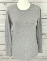 Sonoma Top Womens Small S Gray Solid Scoop Neck Long Sleeve Stretch Cotton