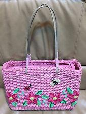 "Awesome Cute! Pink Woven 100% CORN HUSK Handbag Sequin Flowers Bee Ladybug 12""W"