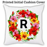 Single Initial Floral Sofa Cushion Cover Print Throw Pillow Gift A-Z Letter 0001