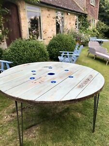 150cm Wooden Round Industrial Dining Garden Table Cable drum Upcycled Bespoke