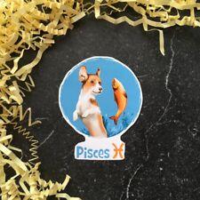 Pisces Dog Puppy Astrology Handmade High Quality Waterproof Vinyl Sticker