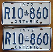 Ontario 1972 License Plate SUPERB QUALITY PAIR # R10 860