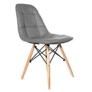 Set of 1 2 4 Wooden Leg White Cushion Eiffel Dining Chair Retro Home Kitchen UK