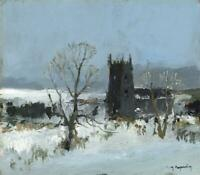 RENE MARIE DUJARDIN (1913-2002) Oil Painting CHURCH IN THE SNOW - 20TH CENTURY