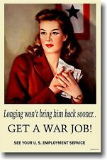 Get a War Job  Vintage - NEW WW2 Women Work  Art Print POSTER