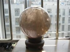 """4640g NATURAL have """"Water"""" SMOKY QUARTZ CRYSTAL SPHERE BALL Healing+ 190g STAND"""