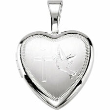 End of Summer Sale - Sterling Silver Cross and Dove Small Heart Locket 20x19mm