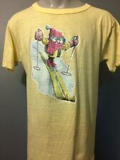 Vtg 1970s 70s Ski Iron-On T-shirt Mens Xl Yellow 50/50 Cotton Thin Soft Skiing
