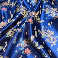 DRAGON NAVY CHINESE ORIENTAL BROCADE Silky Satin Dress Fabric 90cm wide