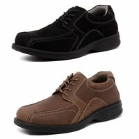 MENS HUSH PUPPIES MACHINE BLACK BROWN LEATHER EXTRA WIDE LACE UP WORK SHOES