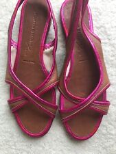 New Sigerson Morrison sandals New York brown leather 7.5 B Italy pink metallic