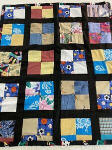 Vintage Handmade 4 Patch Quilt 34x40 Lap #281