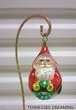Old World Christmas Wreath Holding Santa Ornament Enga-Glas Collection