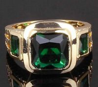 18K GOLD EP 2.5CT  EMERALD CUT MENS DRESS RING size 7 - 13 you choose
