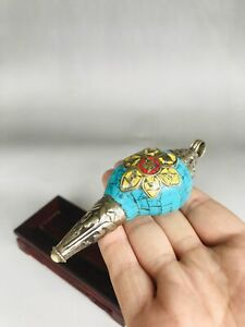 Chinese hand make Turquoise Tibetan silver shell B101
