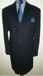 Men's Pierre Cardin Overcoat Coat Blue Wool Cashmere crombie Style Size XL