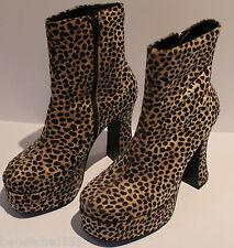 Leopard Print Boots Platform High Heels High Ankle Vintage Pierre Fontaine 5 AU