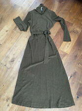 Asos Maxi Dress Belted Size 12 Olive/Khaki Green New With Tags Warm Cotton Terry