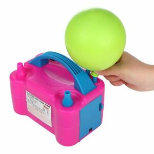 UK Plug Portable Electric Balloon Pump Party Inflator Air Blower Dual Nozzles