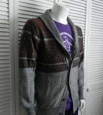NEW Mens SIZE XXL 2XL ALPACA Gray Shawl Collar Cardigan Pattern Sweater PERU