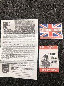 Vintage National Front NF Original 1980's Leaflet And 2 Stickers