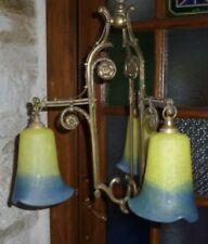 Beau LUSTRE Ancien ART DÉCO en Bronze et Tulipe signées VIANNE en Pâte de Verre