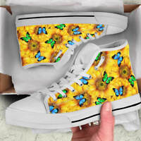 Sunflower Butterfly Lover Women's High Top Shoes - Custom Canvas Shoes