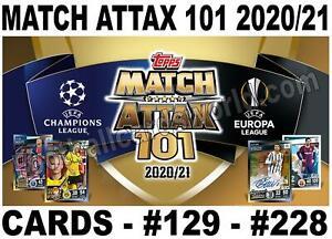 MATCH ATTAX 101 2020/21 2020-2021 20/21 FOIL/ SHINY CARDS  # 129- #228