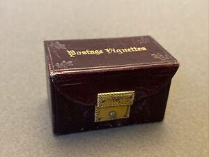 Antique Stamp Box Miniature Leather Stamp Box C1880 Postage Vignettes