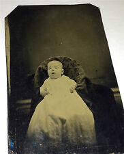 Antique Victorian Baby / Child, Seated in Chair! Hidden Mother? Tintype Photo!
