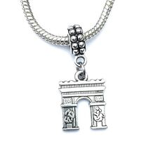 Silver French Arc de triomphe Charm for European and American Charm Bracelet.