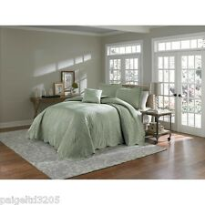 Cannon Luxurious Satin Fabric Quilted Carston QUEEN Bedspread Bed Spread - SAGE