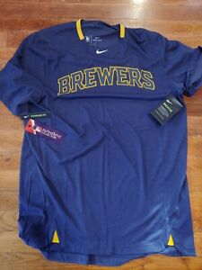 NWT Nike MLB Milwaukee Brewers On Field Dri-Fit  Batting Shirt NKAZ-044N Men's M