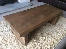 Rustic Handcrafted Chunky Solid Wooden Coffee Table In Walnut Wax