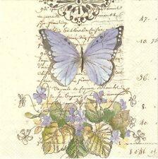 2 Serviettes en papier Papillon Decoupage Paper Napkins Moments of Romance