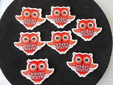 10 WOOD OWL SHAPED SEWING BUTTONS MERRY CHRISTMAS  PATTERN  CRAFTS SCRAP BOOK