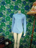 B55 Ralph Lauren Blue White Striped Shirt Blouse Ladies Size 8 Slim Fit