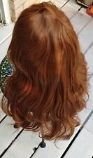 "Wig Natural Wavy Long 22/25"" Long Layer Ginger Dark Honer Color wing with bangs"