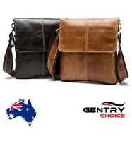 Men's Genuine Leather Cross body Shoulder Messenger Bag Tablet Satchel Handbag