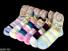 6 PAIRS WOMENS LADIES GIRLS BED SOCKS SZ 2-8 ASSORTED Non slip BULK
