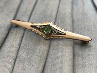 Edwardian Bar Brooch Gold Tone Gilt Green Rhinestone Antique Costume Jewellery