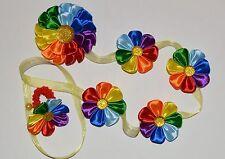 Hecho a mano GIRL'S Arco Iris Flor cinta raso Trenza/Trenzas/Corbata, Kanzashi