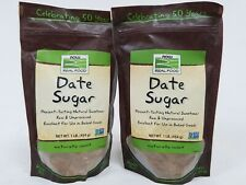 Lot of 2 Now Date Sugar 1 lb Bags Non-GMO Raw Unprocessed for Baked Goods