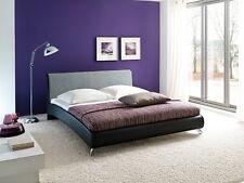 Doppelbett Bettgestell Polsterbett Bettrahmen Relax 180x200 cm schwarz hellgrau