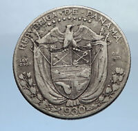 1930 PANAMA OLD Vintage Silver Spanish CONQUISTADOR Quarter w BALBOA Coin i69898