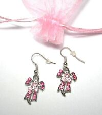 Gorgeous pink crystal ribbon earrings Breast cancer awareness pretty gift bag