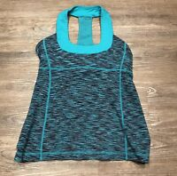 Lululemon Scoop Neck Tank 8 Teal Zeal Space Dye Green Yoga Workout