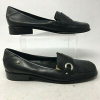Etienne Aigner Womens 9.5M Jannie Slip On Casual Loafer Shoes Black Leather